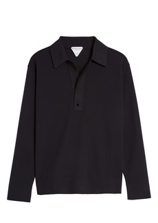 Bottega Veneta Black Long Sleeve Double Piqué Polo