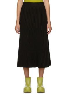 Bottega Veneta Brown Rib Distorted Mid-Length Skirt