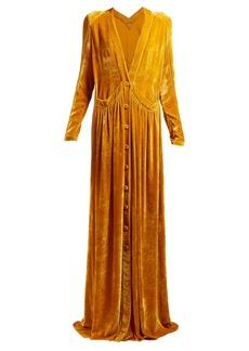 Bottega Veneta Button-front velvet gown