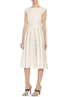 Bottega Veneta Cap-Sleeve Embroidered Linen Dress