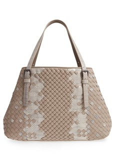 Bottega Veneta Cesta Intrecciato Leather & Genuine Snakeskin Tote