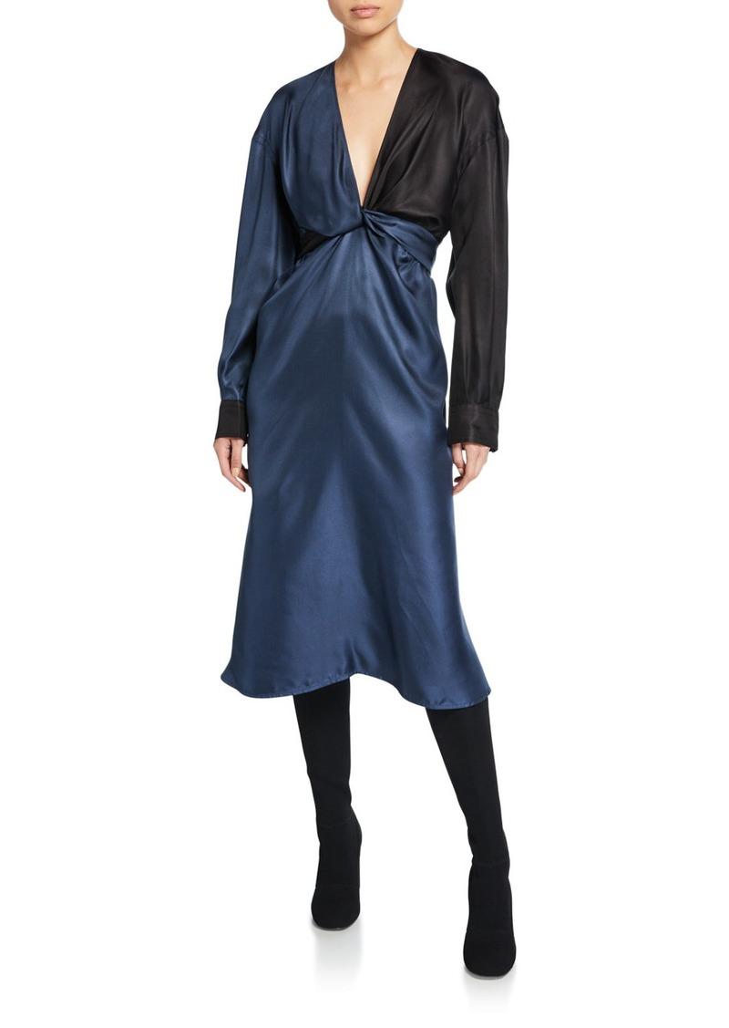 Bottega Veneta Colorblocked Silk Dress