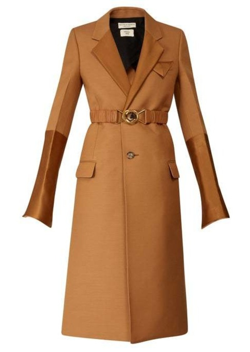 Bottega Veneta Contrast-panel belted single-breasted coat