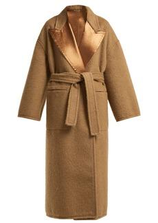 Bottega Veneta Contrast-panel tie-waist wool coat