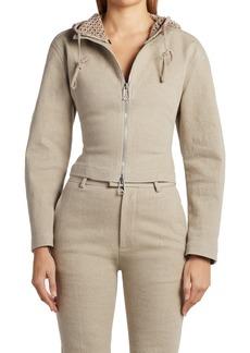 Bottega Veneta Crop Stretch Linen Jacket