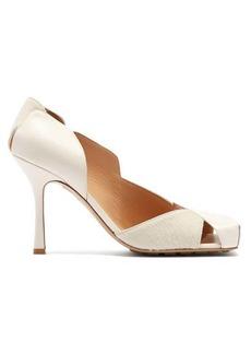 Bottega Veneta Square-toe leather and calf-hair pumps