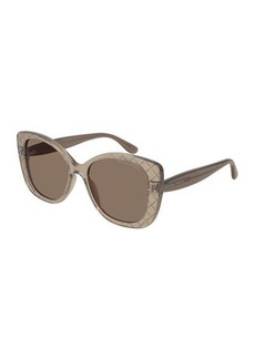 Bottega Veneta Diamond Pattern Square Sunglasses