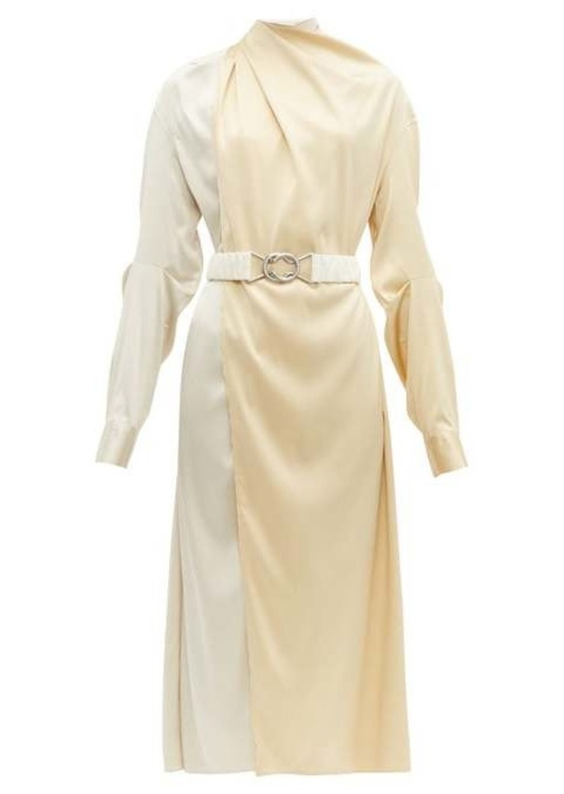 Bottega Veneta Draped two-tone belted silk-satin dress