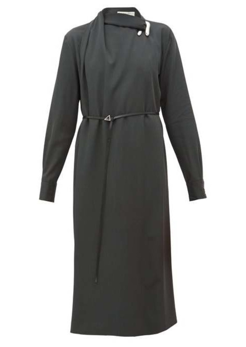 Bottega Veneta Draped wool-gabardine midi dress