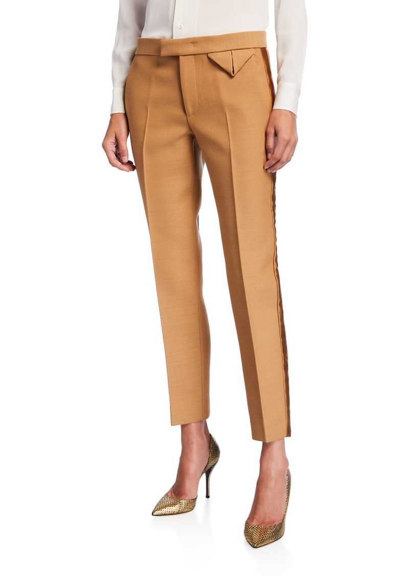 Bottega Veneta Dry Wool Scuba Satin Tuxedo Pants
