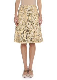 Bottega Veneta Embellished Faux-Suede Skirt