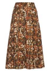 Bottega Veneta Eyelet pleated scuba-jersey skirt