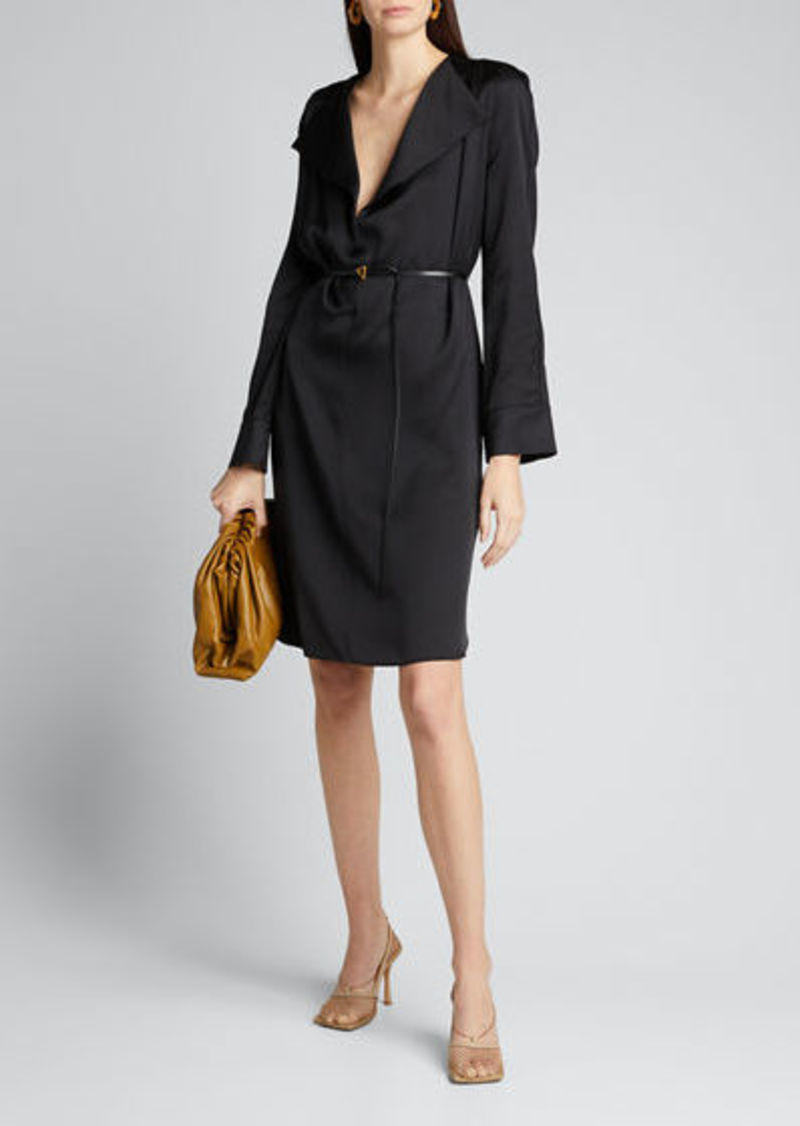 Bottega Veneta Fluid Satin Long-Sleeve Cocktail Dress