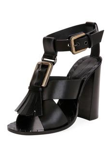 Bottega Veneta Fringe Buckle T-Strap Block-Heel Sandal