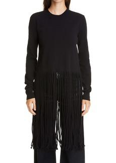 Bottega Veneta Fringe Hem Wool Blend Sweater