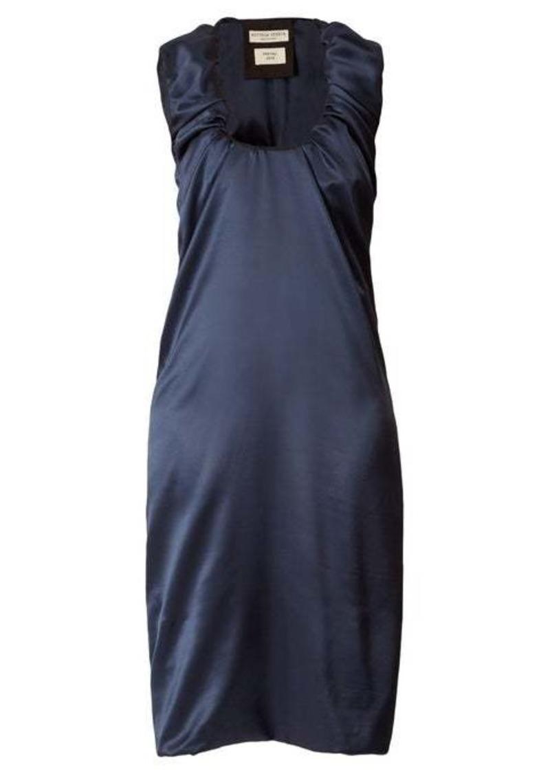 Bottega Veneta Gathered scoop-neck satin midi dress