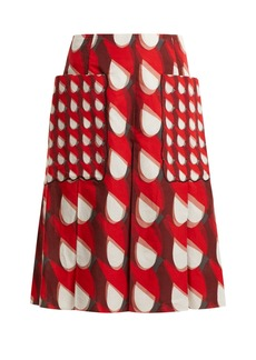 Bottega Veneta Geometric-print cotton and linen-blend midi skirt