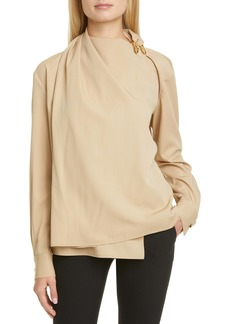 Bottega Veneta Hardware Detail Wool Twill Blouse