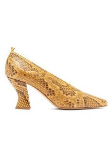 Bottega Veneta High-cut spool-heel python pumps