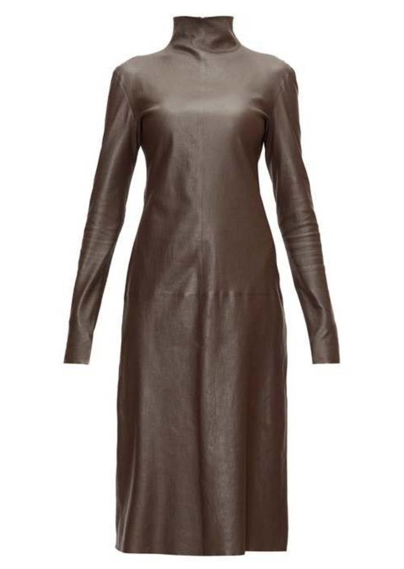 Bottega Veneta High-neck leather midi dress