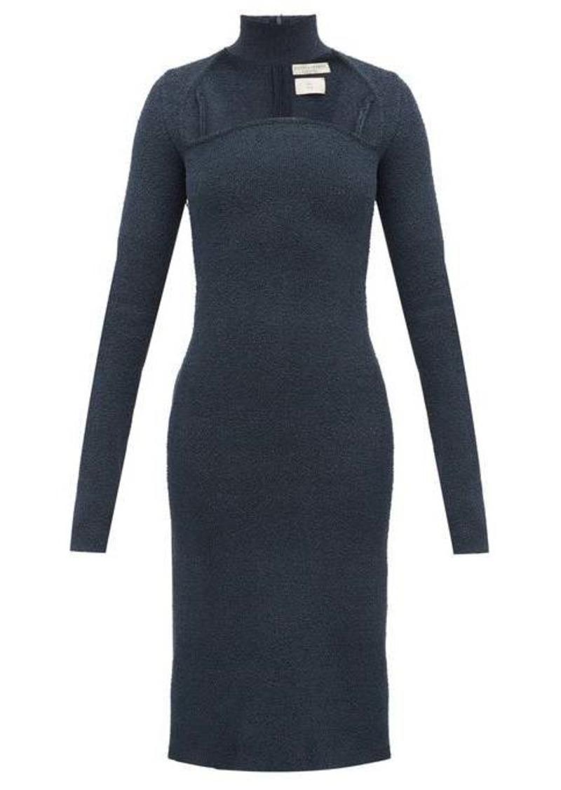 Bottega Veneta High-neck silk blend-sablé dress