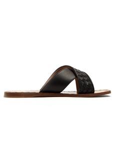 Bottega Veneta Intrecciato crossover leather slides