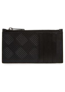 Bottega Veneta Intrecciato Embossed Leather Zip Card Case