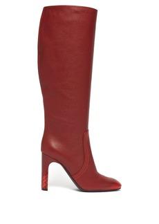 Bottega Veneta Intrecciato-heel knee-high leather boots