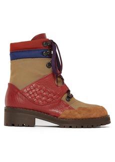 Bottega Veneta Intrecciato lace-up leather canvas boots