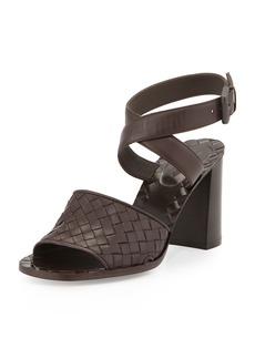Bottega Veneta Intrecciato Metallic Ankle-Wrap Sandal