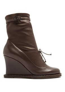 Bottega Veneta Intrecciato-panel leather ankle boots