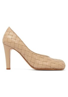 Bottega Veneta Intrecciato square-toe leather pumps