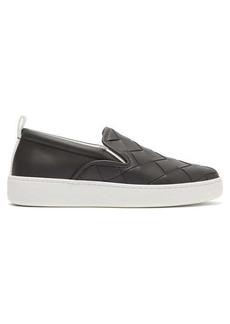 Bottega Veneta Intrecciato-weave leather slip-on trainers