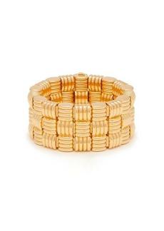 Bottega Veneta Intrecciato-woven gold-plated cuff