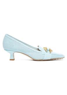 Bottega Veneta Kitten-heel lizard-effect leather loafers