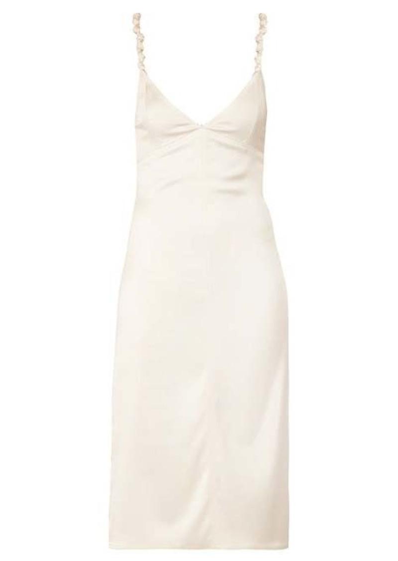 Bottega Veneta Knotted-strap satin pencil dress
