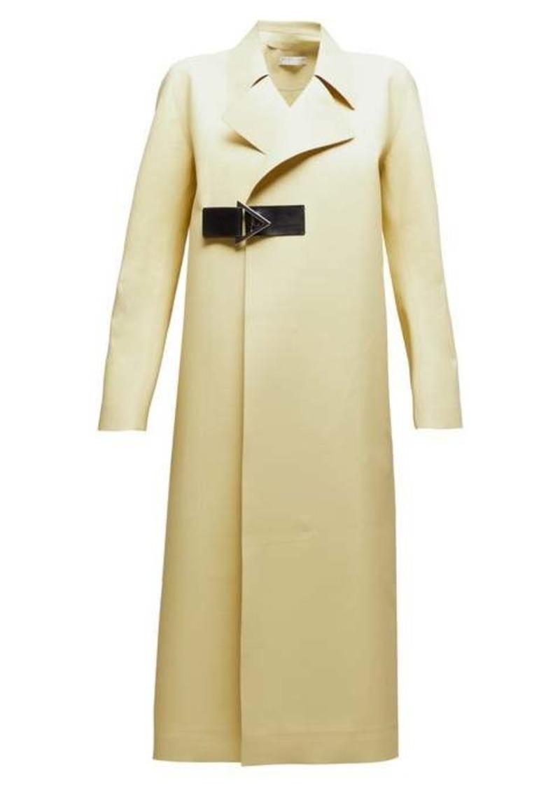 Bottega Veneta Laser-cut geometric-buckle midi-length rubber coat
