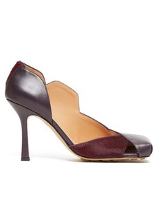 Bottega Veneta Square-toe leather and calf-hair pumps