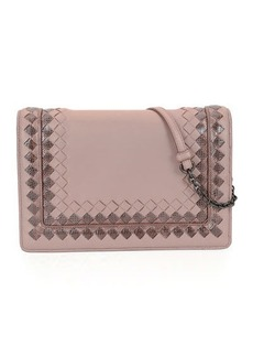 Bottega Veneta Leather Shoulder Bag with Snakeskin Trim