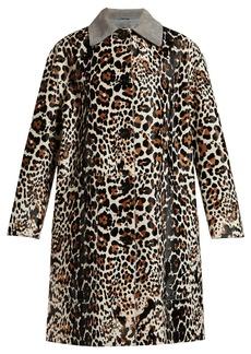 Bottega Veneta Leopard-print and suede collar coat