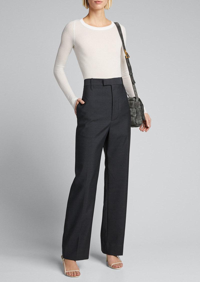 Bottega Veneta Lightweight Wool Wide-Leg  Pants