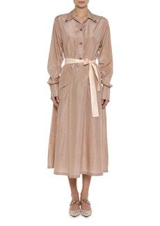 Bottega Veneta Long-Sleeve Washed Silk Shirtdress