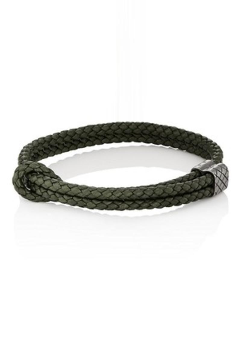 22cbdbeed895e Men's Sterling Silver & Intrecciato Leather Bracelet