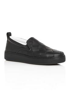 Bottega Veneta Men's Woven Leather Slip-On Sneakers