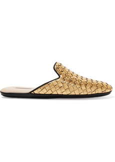 Bottega Veneta Metallic Intrecciato Leather Slippers