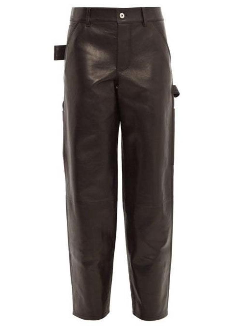 Bottega Veneta Mid-rise straight-leg leather trousers