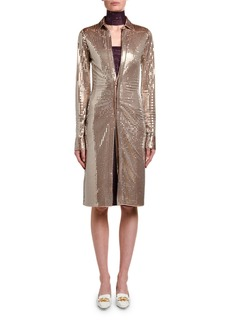 Bottega Veneta Mirrorball Jersey Long-Sleeve Shirtdress
