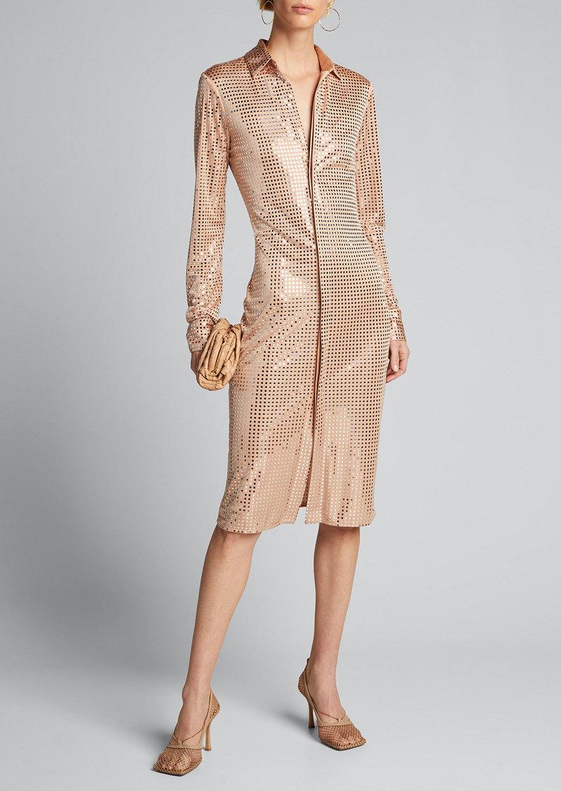 Bottega Veneta Mirrorball Jersey Long-Sleeve Shirtdress