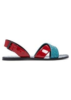 Bottega Veneta Intrecciato patent-leather flat sandals