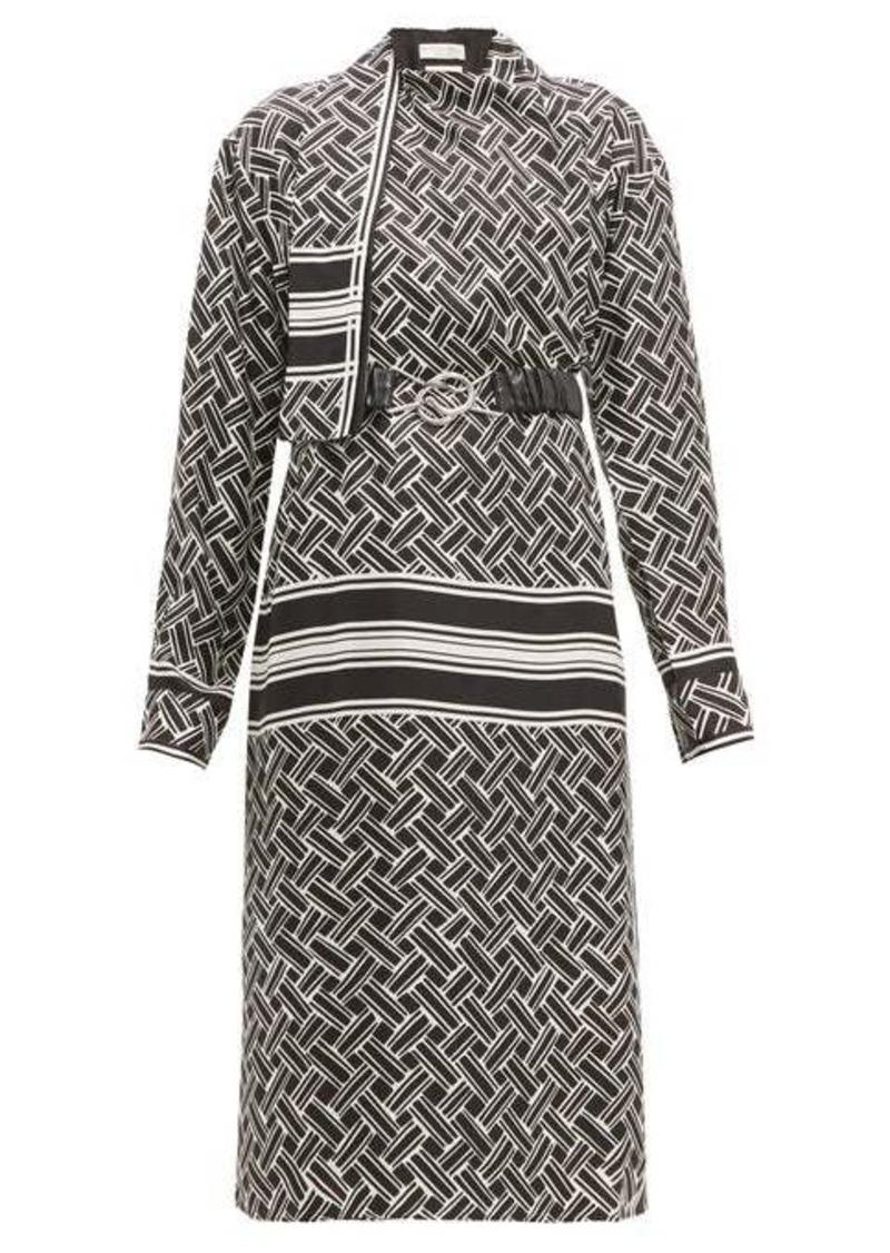 Bottega Veneta Patterned drape-neck silk-twill wrap dress